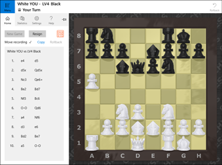 Chess Cake Piece game main view and sidebar